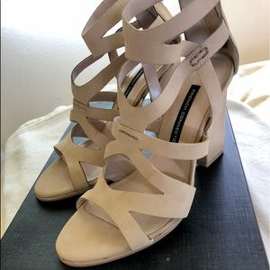 French Connection Leather Strappy Block Heels
